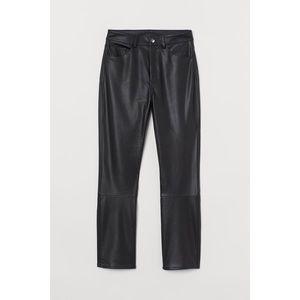 H&M Faux Leather Straight Leg Pants Black